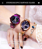 Luxury Starry Sky Stainless Steel Mesh Watches For Women Analog Quartz Wristwatches