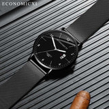 Men Women Fashion luxury Black Silver Stainless Steel Watches Business clock Luminous digital Calendar Quartz Wrist Watch #ASS