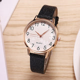 Women Watches Arabic Numeral Faux Leather Band Analog Quartz Wristwatch