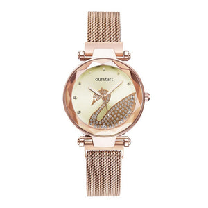 New Style Diamond Set Swan Watch Milan Strap Ladies' Watch Douyin Hot Selling Online Celebrity Quartz Watch