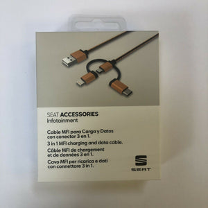 genuine Seat mfi charging and data cable 3 in 1 brand new accessories000051444a