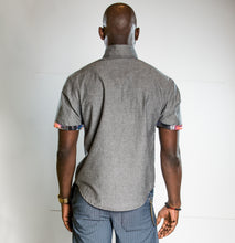 Load image into Gallery viewer, Origami Collar Button-up Chambray Short Sleeve Shirt - ONE LEFT