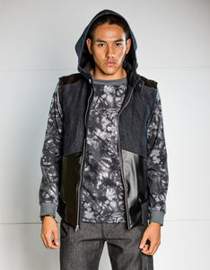 Catalyst Denim and Faux Leather Sleeveless Hooded Jacket - Size Sm/Med