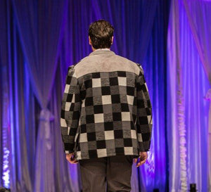 Checkered Wool and Suede Sherpa Peacoat - Size Large