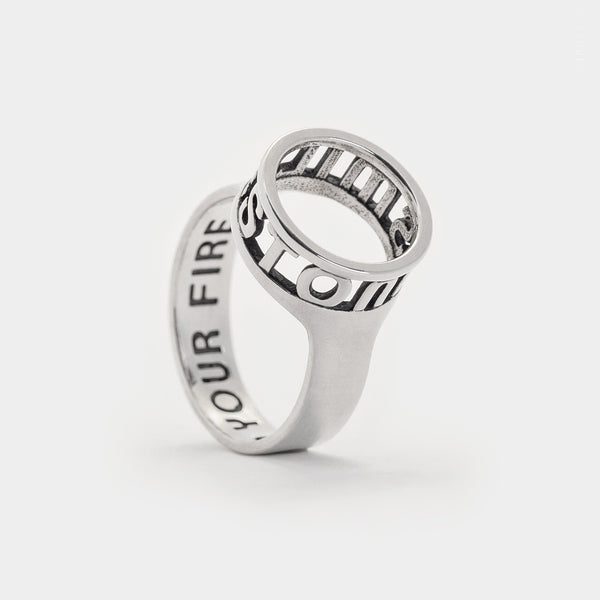 sterling silver bespoke custom personalised jewellery Hidden Message Open Circle Ring