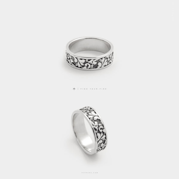 Floral Frieze Inspired, Sterling Silver Patterned Band Ring