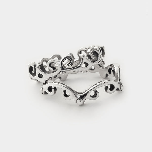 sterling silver lace swirl border Lace Edge Stackable Ring Set