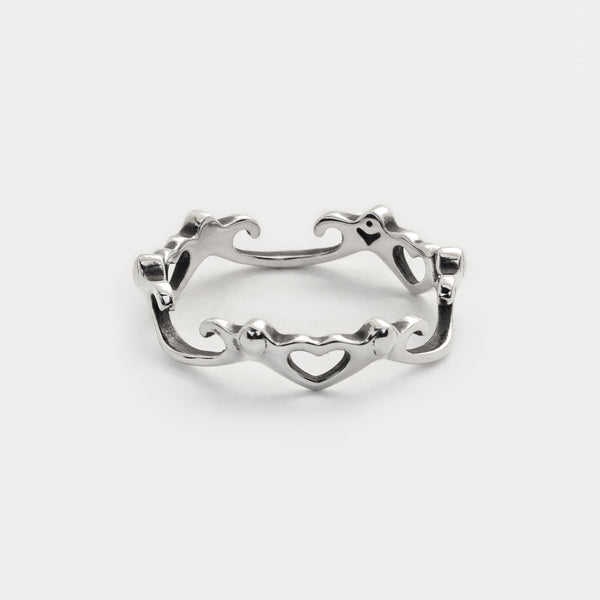 Infinite Heart Swirl Stacking Ring sterling silver tiny love ring