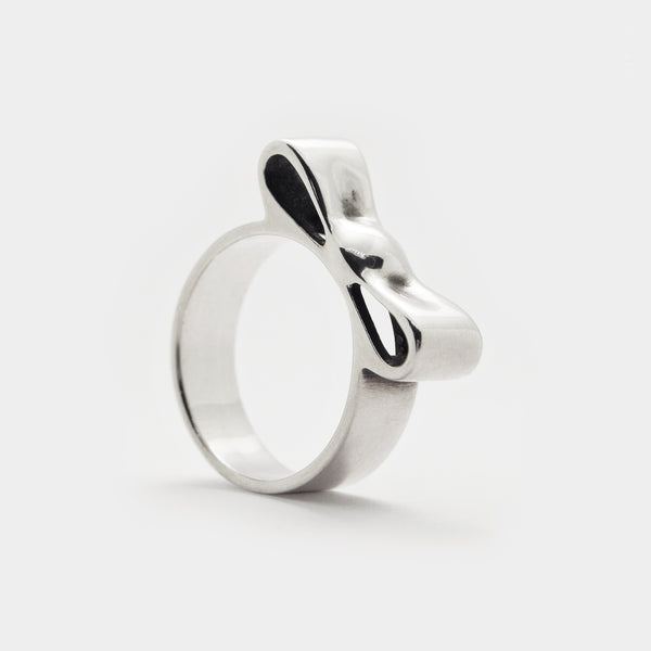 Pared-Down Bow Ring - sterling silver 3d printed jewellery