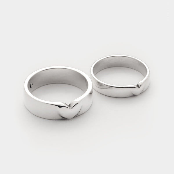 heart ring - 4mm or 6mm wide band ring in sterling silver