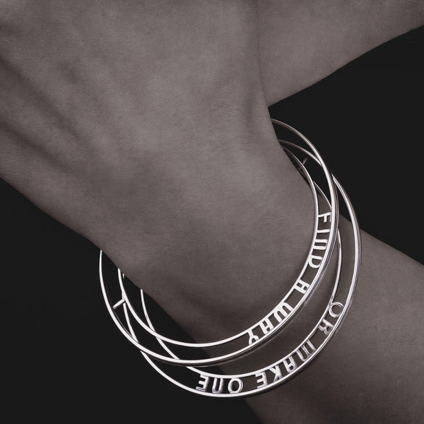 Sterling Silver Personalised Hidden Message Bangle