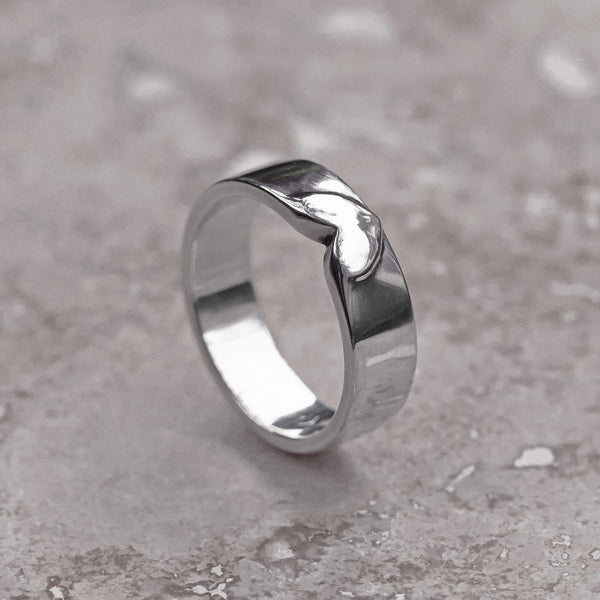 heart ring - sterling silver band ring, love ring gift for her