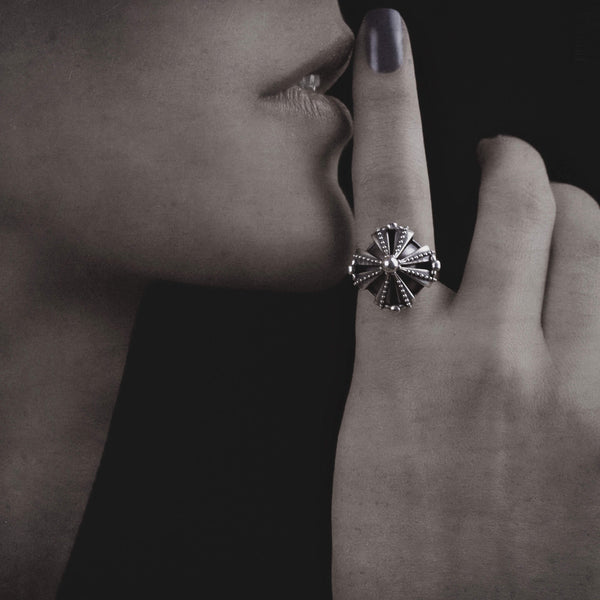 Vintage Royal Crown Ring - sterling silver statement crown ring 3d printed jewellery