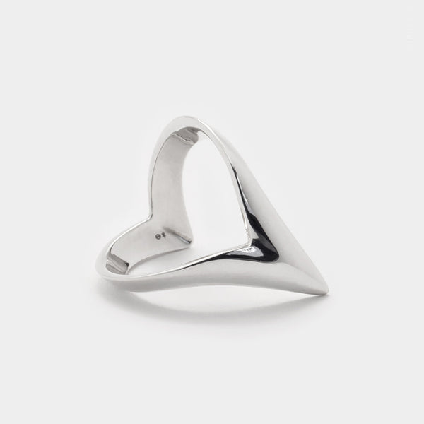 Wishbone Pointy Ring - chevron ring luxury sterling silver 3d printed jewellery