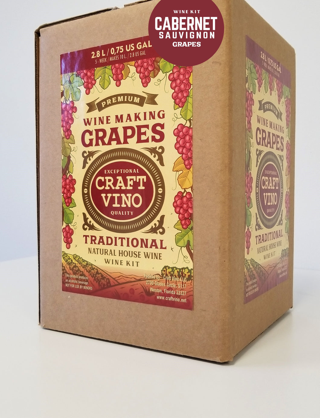 CABERNET GRAPES Premium Wine Kit – Cabernet Sauvignon – Makes wine in 4 -5  weeks - CraftVino