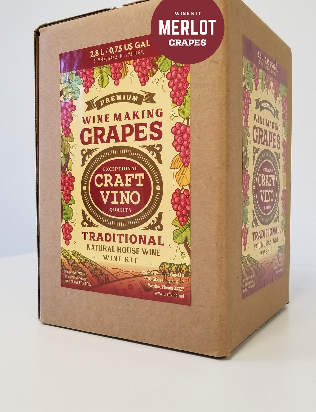 MERLOT GRAPES Premium Wine Kit – Merlot – Makes wine in 4 -5 weeks - CraftVino