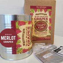 Load image into Gallery viewer, MERLOT GRAPES Premium Wine Kit – Merlot – Makes wine in 4 -5 weeks - CraftVino