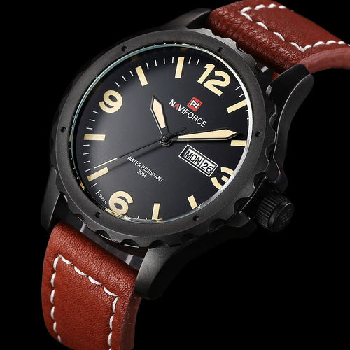 nForce Date+Day Quartz Timepiece with Leather Strap
