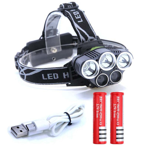 15000LM 5 LED, USB Headlamp 3*XML T6+2*Q5