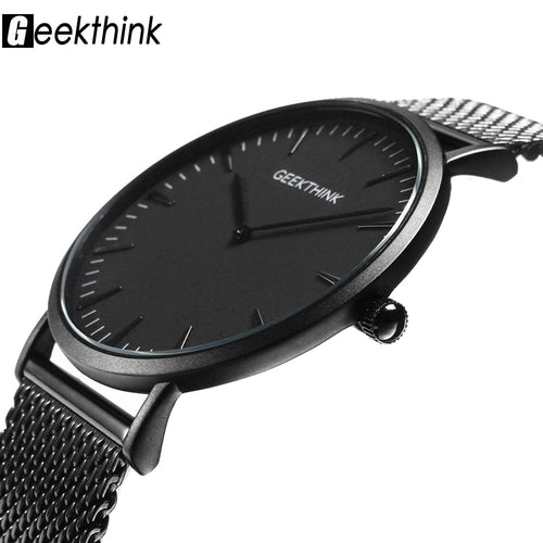 Black Thin Quartz Timepiece with Stainless Steel and Wooden Face