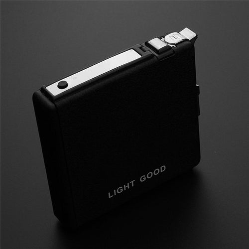 Black Ultra Thin Cigarette Case With Windproof Rechargeable Cigarette Lighter