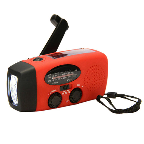 Solar/Hand Crank AM/FM/NOAA Radio with LED Flashlight with USB Charger.
