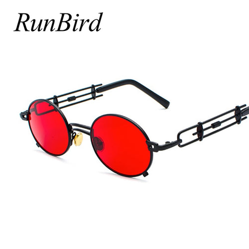Retro RED Vintage Metal Black Oval Framed Sun Glasses