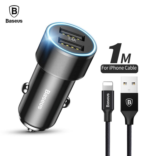 3.4A Dual USB Car Charger For iPhone/Samsung, Flash Charge, With Braided Lightning Connector Cable