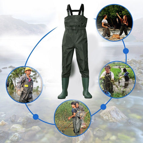 Camouflage Fishing Waders, Tactical, Waterproof with Boots, Breathable Chest Waders
