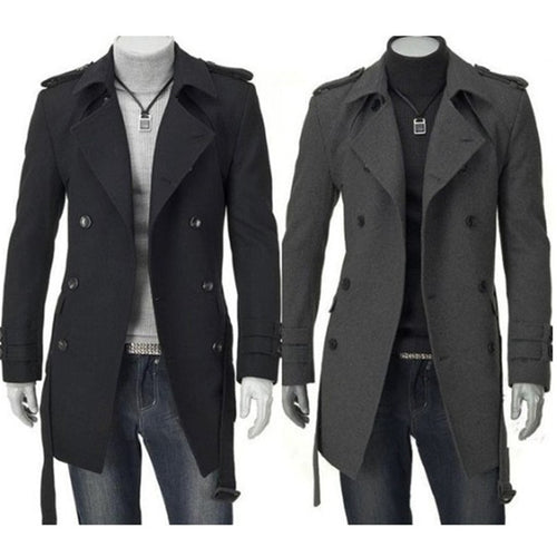 Men Black/Grey Faux Wool Trench