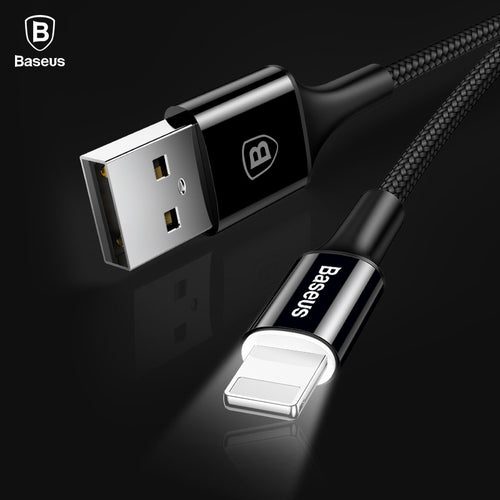 Baseus LED Light USB Cable For iPhone X 8 7 6 6s 5 iPad 2A Fast Data Sync Charging Charger Wire Cord Adapter Mobile Phone Cables