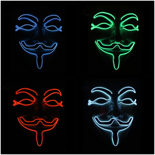 10 COLOR Option Vendetta/Anonymous Flashing LED MASK