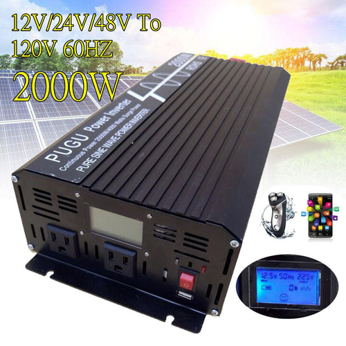 2000W 'Pure Sine' DC to AC Car Power Inverter with LCD Display and USB (Peak 4000W 12V/24V/48V to 120V/220V)