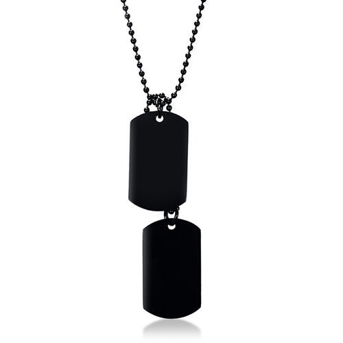 Steel Black Double Dog Tag Pendant