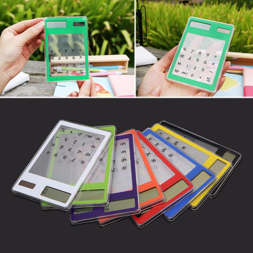 1Pc Slim LCD 8-Digit Display Clear Touch Screen Solar Calculator