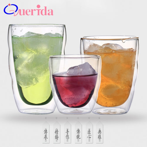 4Pcs/lot Double Wall Handmade Glass Cups, Casual. Thermo Espresso, Morning Mugs, Coffee, Juice. YOU DECIDE