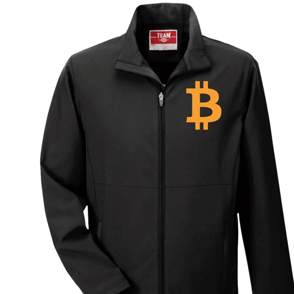 Men's Bitcoin Three-Layer Softshell Jacket: Orange Logo