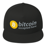 """Bitcoin Accepted Here"" 5-Panel Flat-Bill Hat"