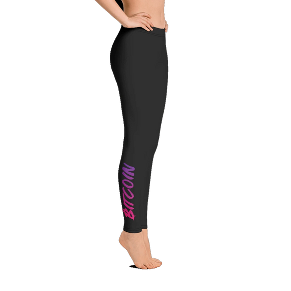Bitcoin Leggings: Neon Purple and Pink