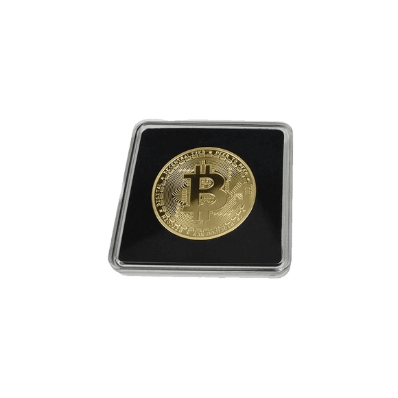 Gold-Plated or Silver Collector's Bitcoin Coin with Clear Display Case
