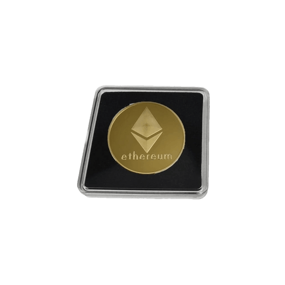 Gold-Plated or Silver Collector's Ethereum Coin with Clear Display Case