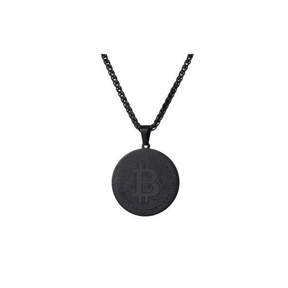Bitcoin Rope Chain Necklace and Pendant