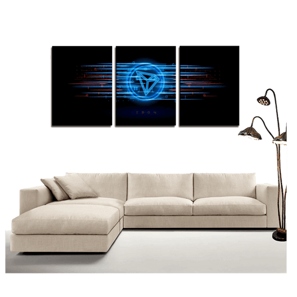Holographic TRON 3-Panel Wall Canvas