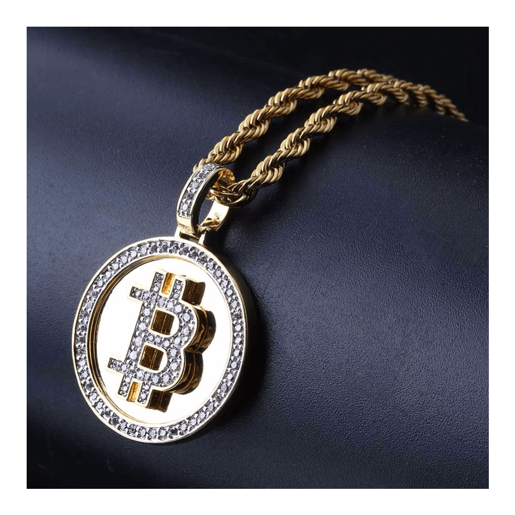 Bitcoin 24k Gold Necklace with Cubic Zirconia