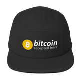 """Bitcoin Accepted Here"" Cotton 5-Panel Cap"
