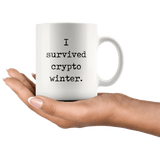 """I Survived Crypto Winter"" White Mug"