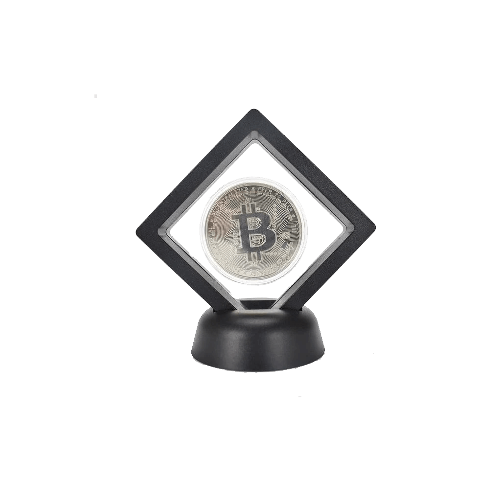 Bitcoin Commemorative Coin with Modern Stand