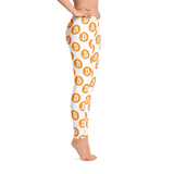 Bitcoin Leggings: Medium Logo on White