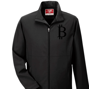 Men's Bitcoin Three-Layer Softshell Jacket: Black Logo