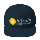 """Bitcoin Accepted Here"" Snapback Hat"